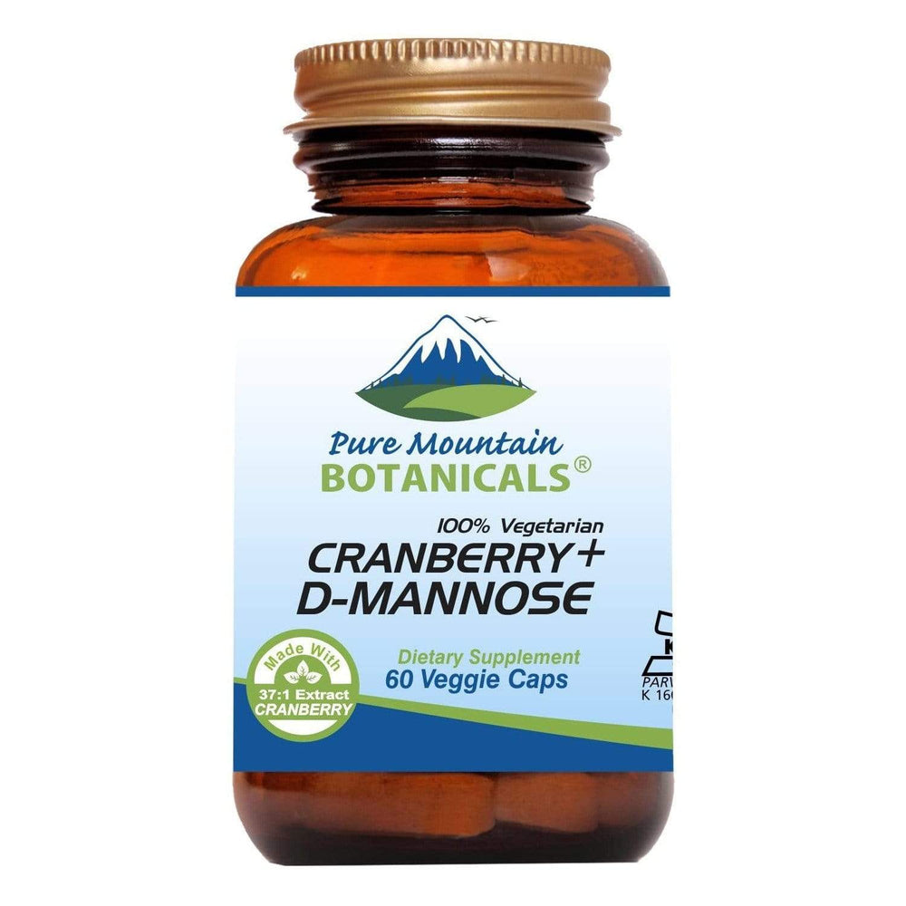 Pure Mountain Botanicals Supplement Cranberry D Mannose Capsules - 60 Kosher Vegan Caps - 1000 mg Cranberry Concentrate