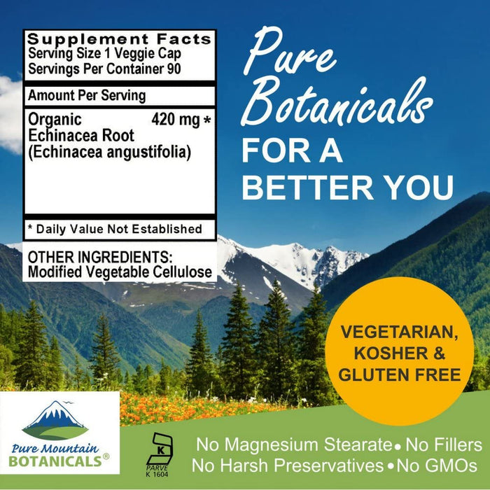 Pure Mountain Botanicals Supplement Echinacea Capsules - 90 Kosher Vegetarian Caps