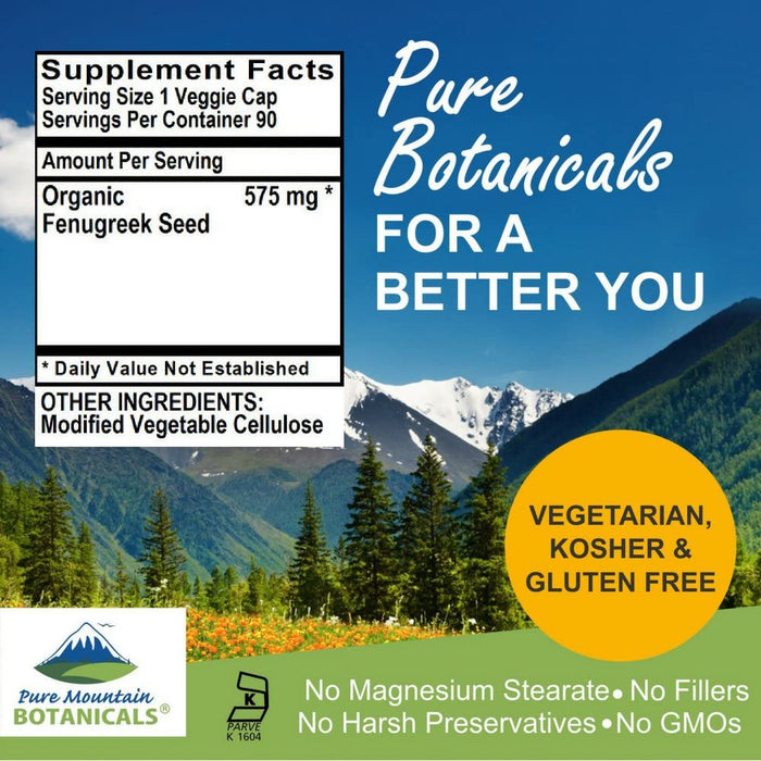 Pure Mountain Botanicals Supplement Fenugreek Capsules - 90 Organic Kosher Veggie Caps