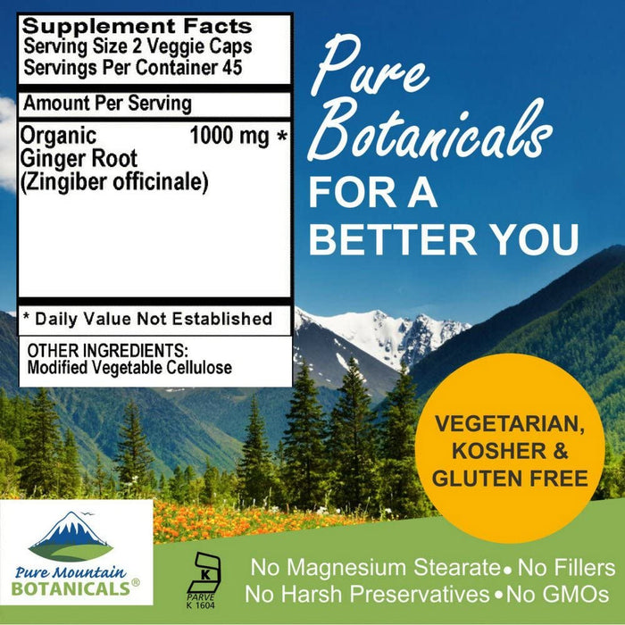 Pure Mountain Botanicals Supplement Ginger Capsules - 90 Kosher Vegetarian Caps