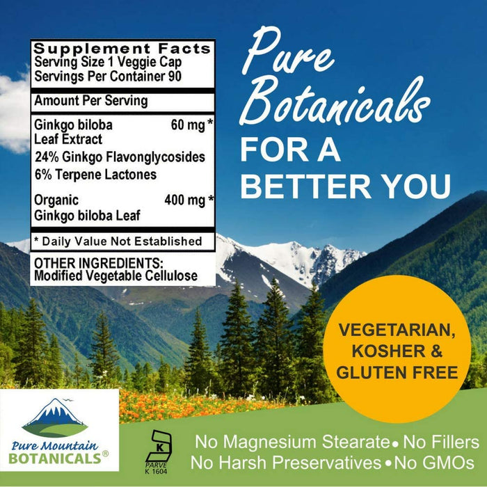 Pure Mountain Botanicals Supplement Ginkgo Biloba Capsules - High Potency 90 Organic Kosher Veggie Caps