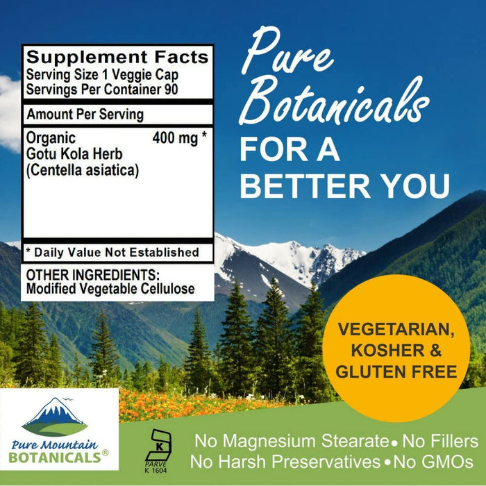 Pure Mountain Botanicals Supplement Gotu Kola Capsules - 90 Organic Kosher Veggie Caps