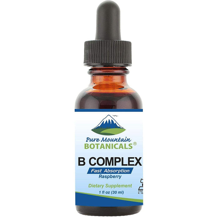 Liquid Vitamin B Complex - Raspberry Flavor Kosher B Complex Vitamin with B12, B6, Thiamin, Biotin & Folic Acid - 1oz Bottle