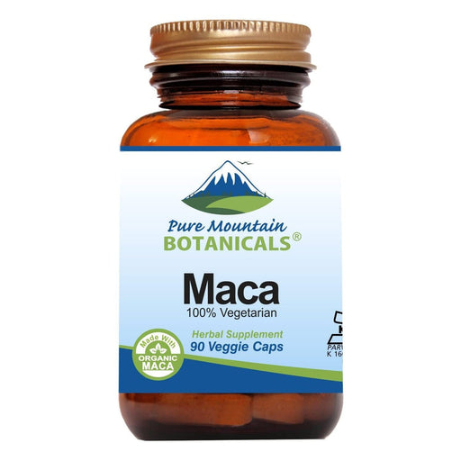 Pure Mountain Botanicals Supplement Maca Powder Capsules - 90 Organic Kosher Veggie Caps