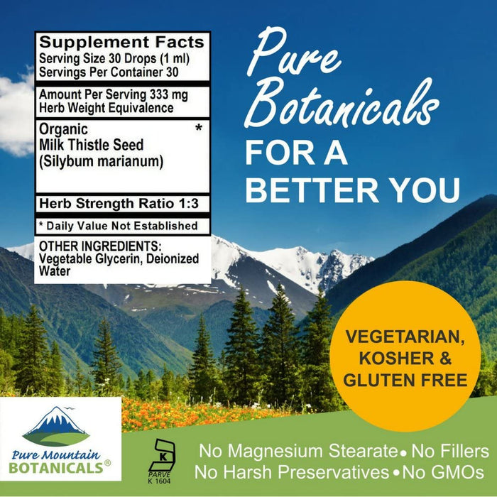 Pure Mountain Botanicals Supplement Milk Thistle Extract  - Made with 333mg Organic Milk Thistle Tincture - 1 Fl Oz Bottle