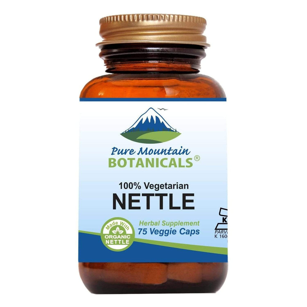 Pure Mountain Botanicals Supplement Nettle Leaf Capsules - 75 Organic Kosher Veggie Caps