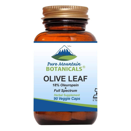 Pure Mountain Botanicals Supplement Olive Leaf Capsules - 90 Organic Kosher Veggie Caps