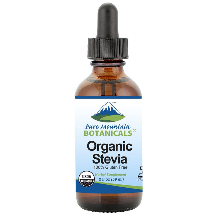 Pure Mountain Botanicals Sugar Substitute 2 oz. Organic Liquid Stevia Sweetener – Alcohol Free and Kosher Sugar Substitute - Glass Bottle
