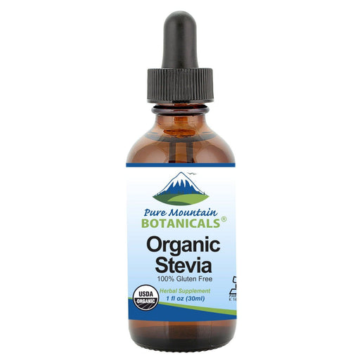 Pure Mountain Botanicals Sugar Substitute 1 oz. Organic Liquid Stevia Sweetener – Alcohol Free and Kosher Sugar Substitute - Glass Bottle