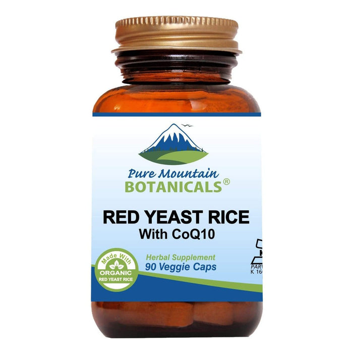 Pure Mountain Botanicals Supplement Red Yeast Rice with CoQ10 - 90 Organic Kosher Veggie Caps