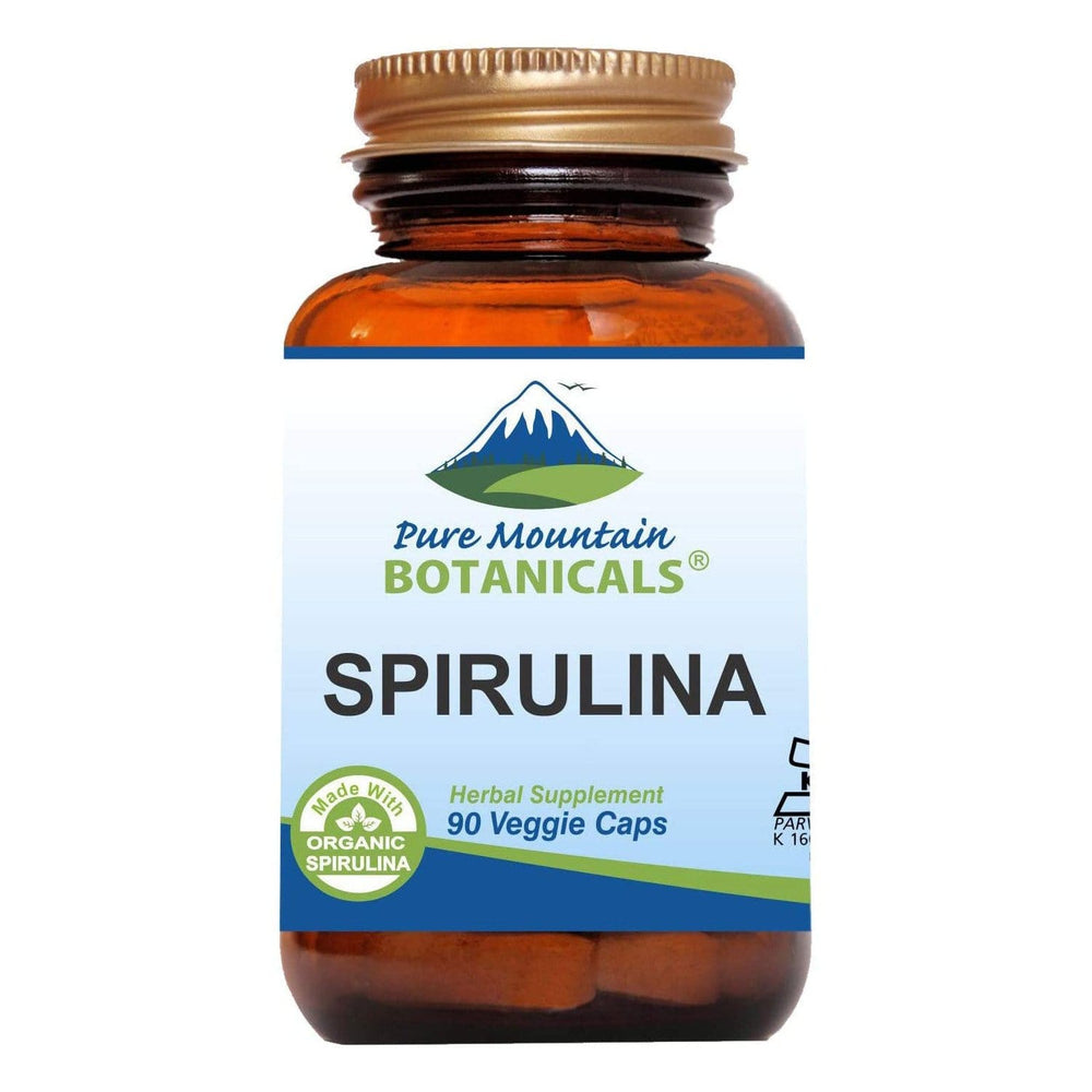 Pure Mountain Botanicals Supplement Spirulina Capsules - 90 Organic Kosher Veggie Caps