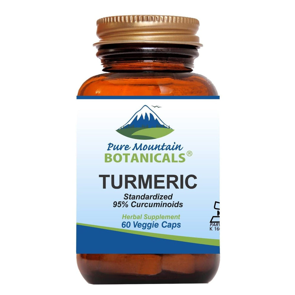 Pure Mountain Botanicals Supplement Turmeric with Black Pepper Extract - 60 Kosher Veggie Capsules