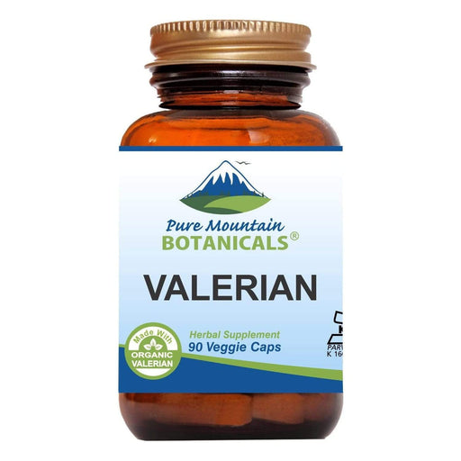 Pure Mountain Botanicals Supplement Valerian Capsules - 90 Organic Kosher Veggie Caps