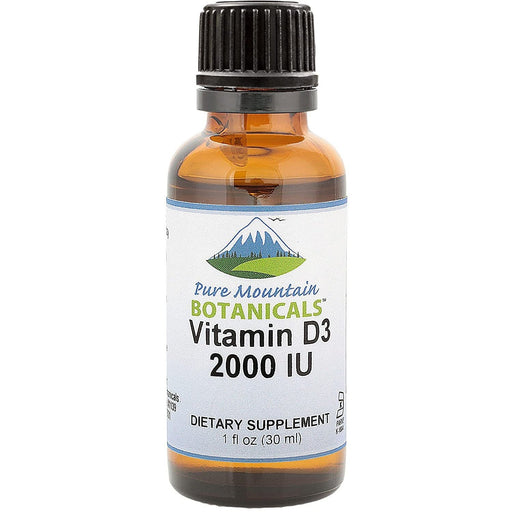 Pure Mountain Botanicals Vitamin Liquid Vitamin D Drops - Unflavored Kosher D3 Liquid Drops in MCT Oil - 2000iu per Serving - 1oz Bottle