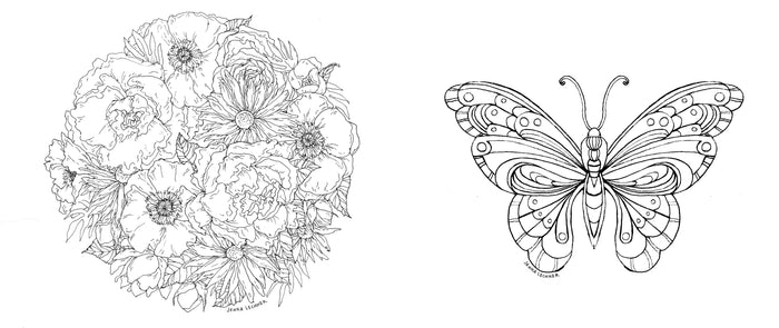 Coloring Pages - Flowers and Butterfly