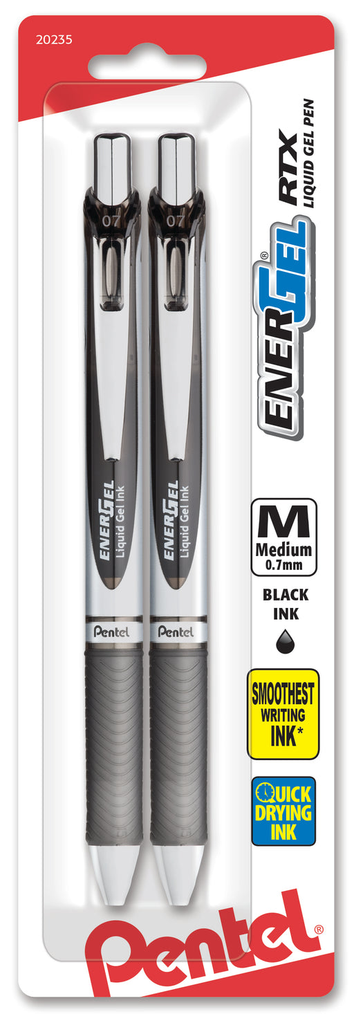 EnerGel RTX Retractable Liquid Gel Pen, (0.7mm) Metal Tip, Medium Line, Black Ink 2-Pk