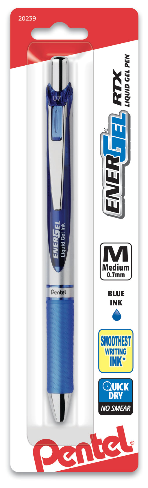 EnerGel RTX Retractable Liquid Gel Pen, (0.7mm) Metal Tip, Medium Line, Blue Ink 1-Pk