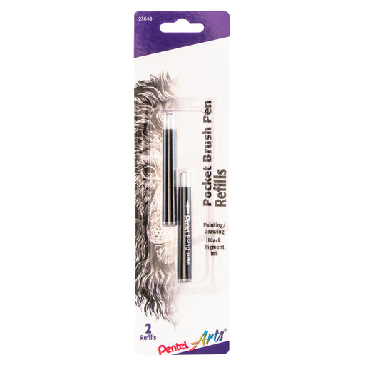 Pocket Brush Pen Refills - Black 2 Pack