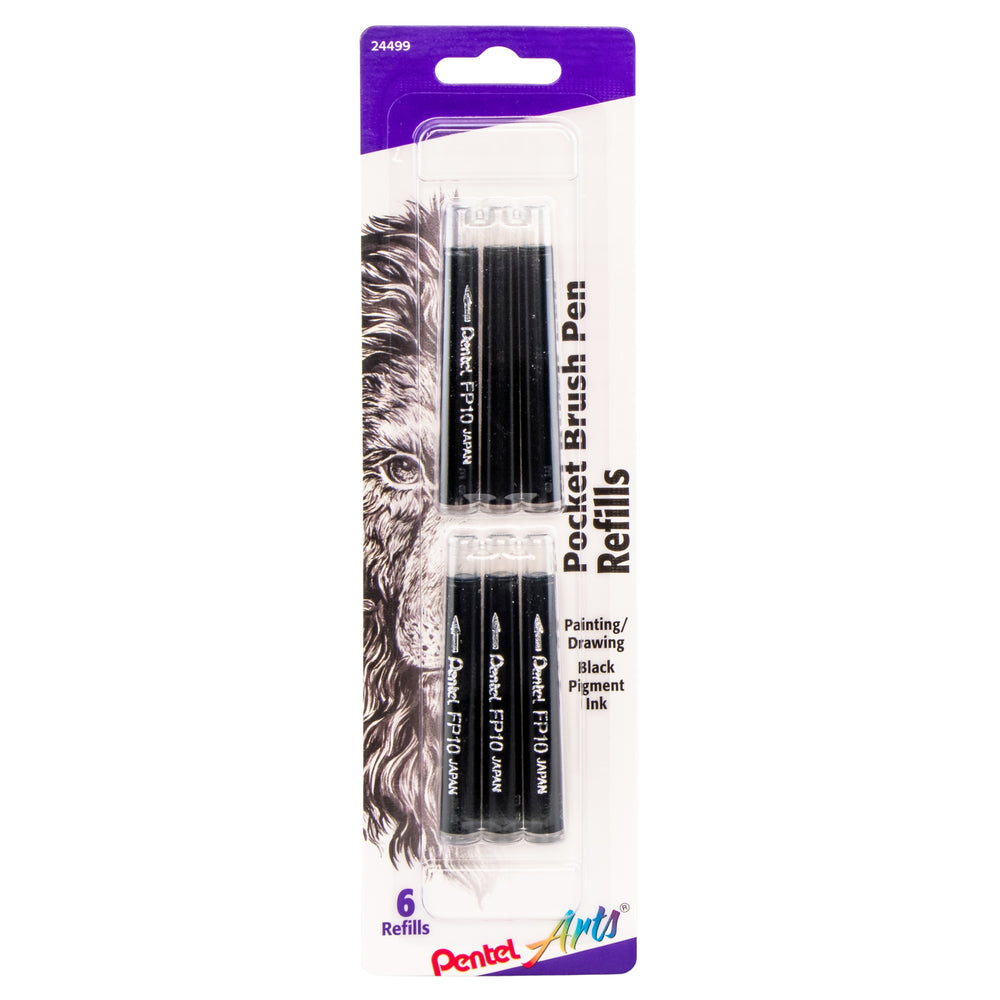 Pocket Brush Pen Refills - Black 6 Pack
