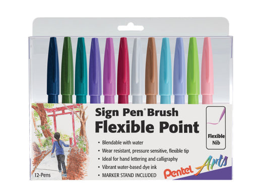 Pentel Arts Sign Pen Brush Tip,  12-Pack Assorted Colors- NEW Colors!
