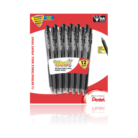 WOW! Ballpoint Pens, 12 Pack, Black