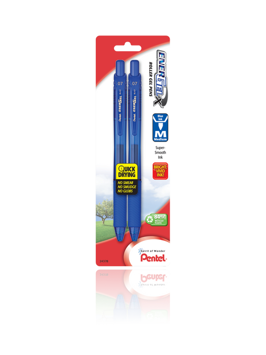 EnerGel®- X™ RollerGel Pen Medium Line, Metal Tip, 2 Pack