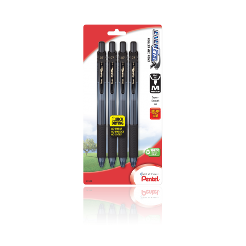 EnerGel®- X™ RollerGel Pen Medium Line, Metal Tip, 4 Pack