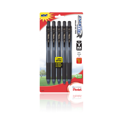 EnerGel®- X™ RollerGel Pen Medium Line, Metal Tip, 5 Pack