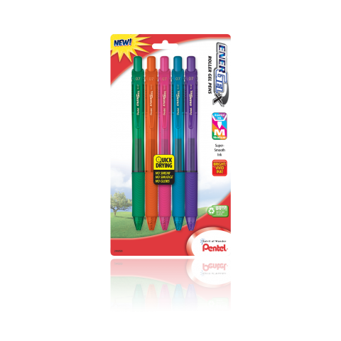 EnerGel- X Liquid Gel Pen Medium Line, Metal Tip - Assorted - 5-pk