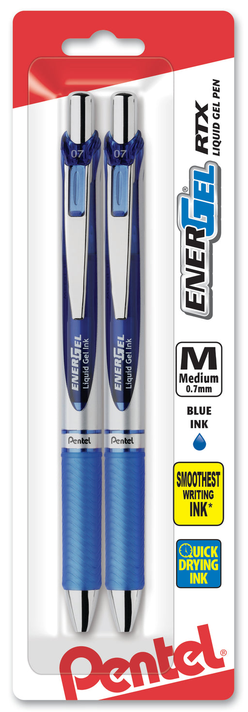 EnerGel RTX Retractable Liquid Gel Pen, (0.7mm) Metal Tip, Medium Line, Blue Ink 2-Pk