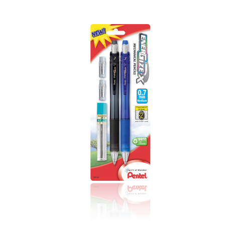 EnerGize-X™ Mechanical Pencils - Assorted 2 Pack with Lead Refill & 2 Erasers