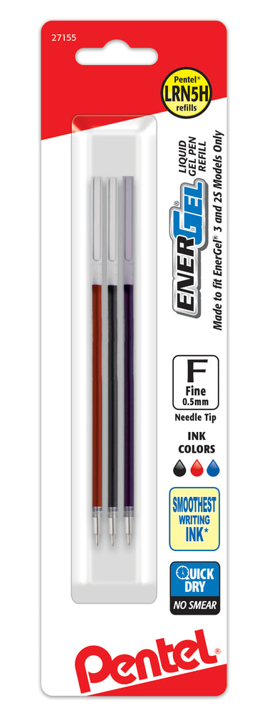 EnerGel Refills for EnerGel 3 Multi-Function Gel Pen, (0.5mm) Fine Line, Black/Red/Blue Inks
