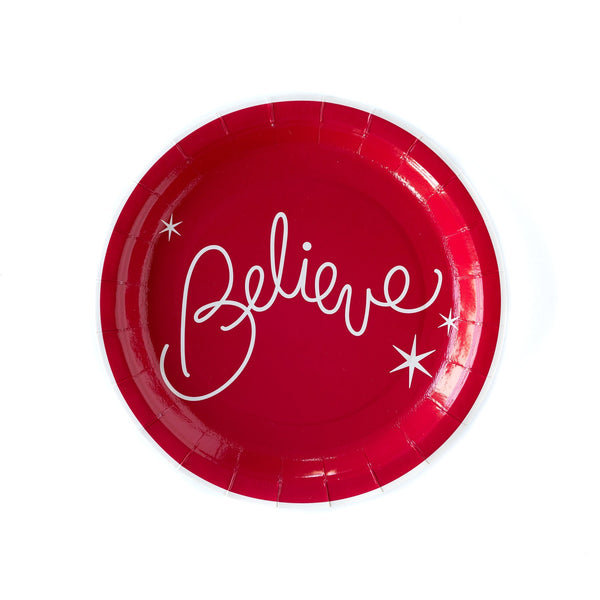 "Red 9"" Believe Plates"