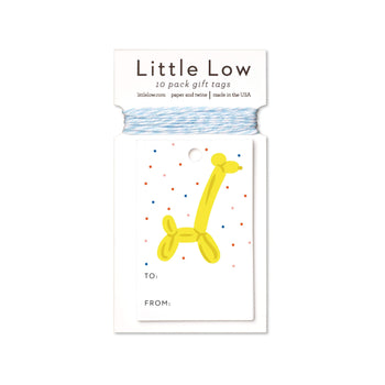 Balloon giraffe gift tags featuring a yellow balloon giraffe printed on white stock including a generous amount of twine