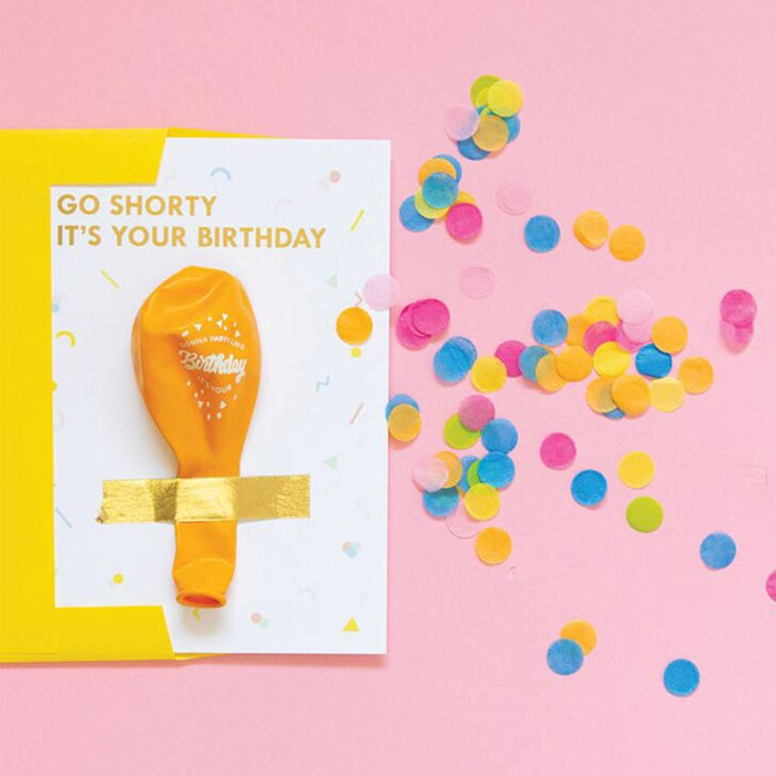 Signature birthday balloon card with text reading 'Go shorty it's your birthday' including gold color signature balloon