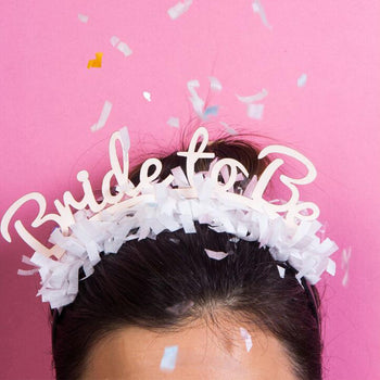 Bride to be headband with white fringe