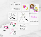 Bride to be tattoo pack containing an assortment of bridal tattoos for the bridal party or a bachelorette party