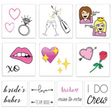 Bride to be tattoo pack containing an assortment of bridal tattoos