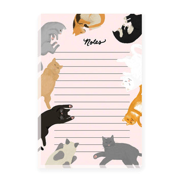 Cat notepad with notes section surrounded by different colored snuggly kitties!