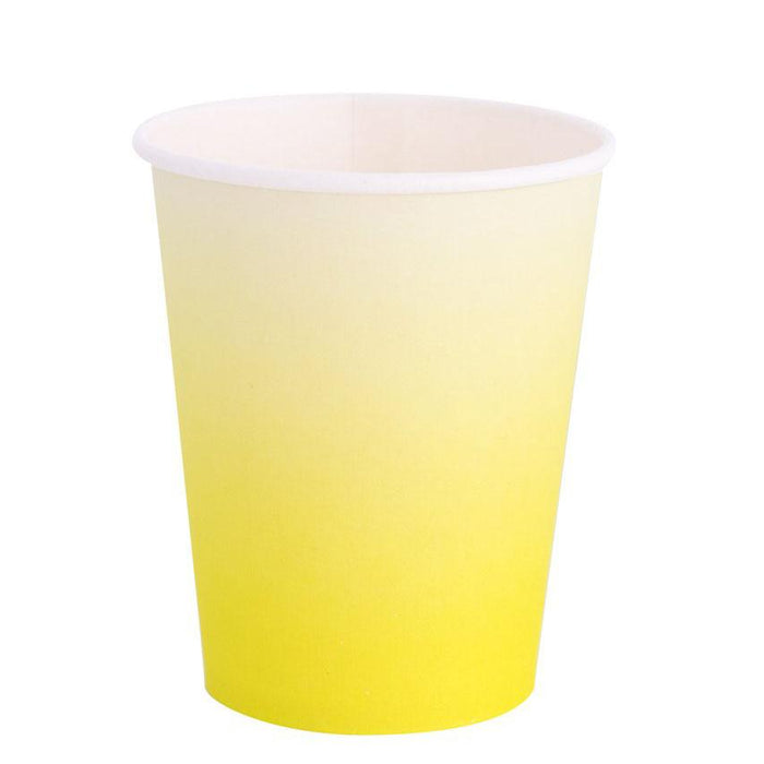 Chartreuse Ombre party cup - an 8oz cup chartreuse in color starting at the base of the cup and fading to white at the lip of the cup