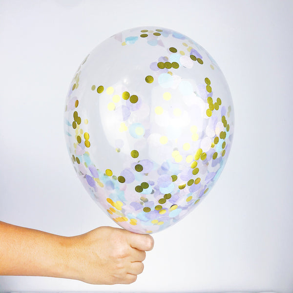 Unicorn Dust Confetti Balloon - A clear balloon made of high quality latex that is biodegradable filled with multi-colored foil circles of blue, purple, pink and gold!