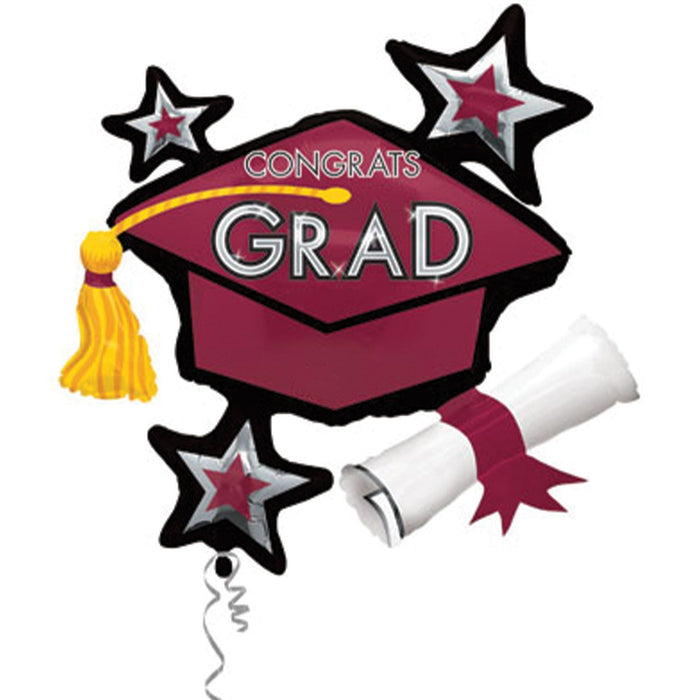 Congrats Grad Balloon - a Mylar balloon cluster containing a graduation hat with stars and a rolled up diploma with the text 'congrats grad'