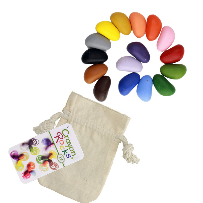 Crayon Rocks in all the colors of the rainbow with a beige muslin storage bag