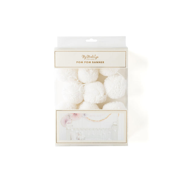 Cream Yarn Pom Poms in a white box