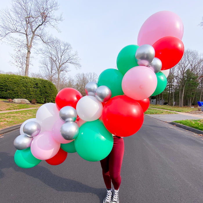 DIY Balloon Garland Kit in Pink Christmas colors of red, white, green, pink and silver