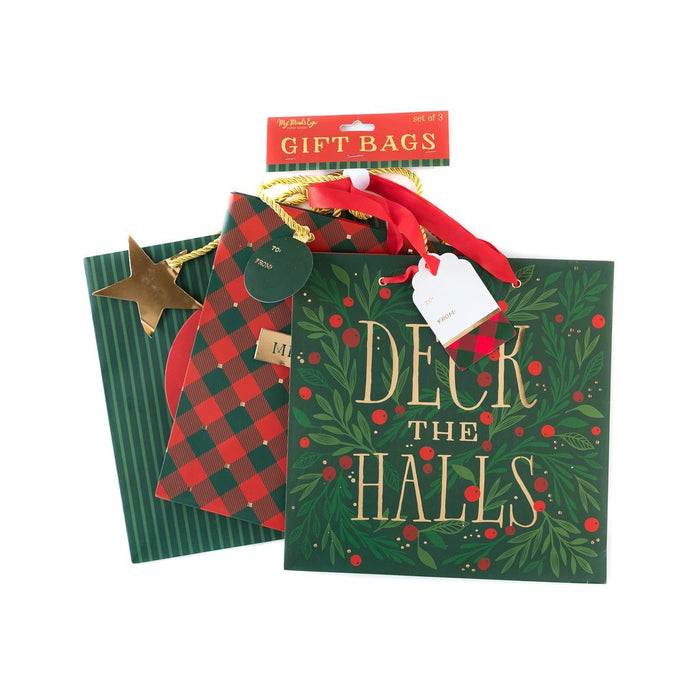Set of 3 Deck The Halls Large Holiday Gift Bags 3 different designs