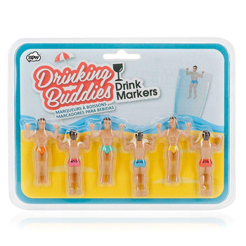 Drinking Buddies Drink Markers - figures that can be hung from the lip of a drinking glass to mark individual drinks and avoid mix ups