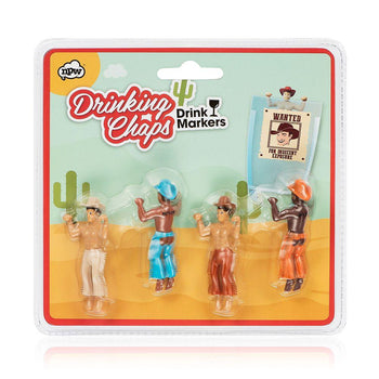 Drinking Chap Drink Markers - figures that hang from the lip of a drinking glass to mark individual drinks