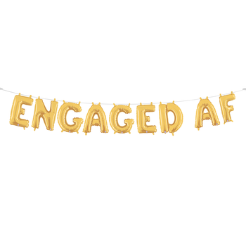 Engaged AF Gold Balloon Garland - a balloon garland made of gold colored balloons spelling out the phrase 'engaged AF' assembled on a line of twine and wall hung in a large radius
