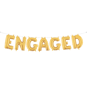 Engaged - A gold Mylar balloon garland spelling out the word 'engaged'